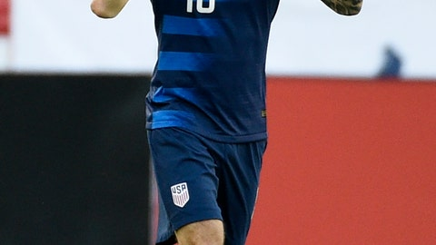 <p>               United States midfielder Christian Pulisic celebrates his during the first half of an international friendly soccer match against Chile, Tuesday, March 26, 2019, in Houston. (AP Photo/Eric Christian Smith)             </p>