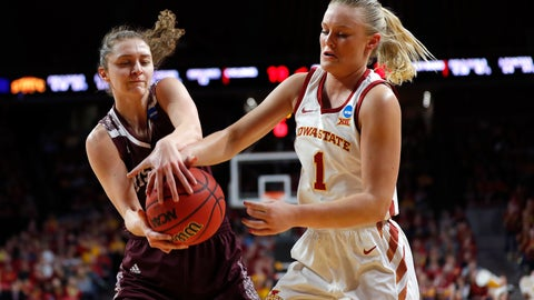 <p>               Missouri State guard Alexa Willard, left, steals the ball from Iowa State forward Madison Wise during the first half of a second-round women's college basketball game in the NCAA Tournament, Monday, March 25, 2019, in Ames, Iowa. (AP Photo/Matthew Putney)             </p>