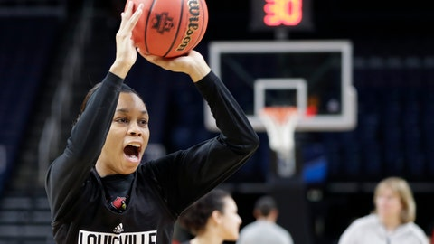 <p>               Louisville guard Asia Durr passes during practice at the NCAA women's college basketball tournament, Thursday, March 28, 2019, in Albany, N.Y. Louisville faces Oregon State in a regional semifinal game on Friday. (AP Photo/Kathy Willens)             </p>