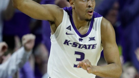 <p>               Kansas State guard Kamau Stokes (3) celebrates a three-point basket during the first half of an NCAA college basketball game against Oklahoma in Manhattan, Kan., Saturday, March 9, 2019. (AP Photo/Orlin Wagner)             </p>