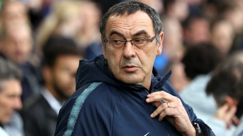 <p>               Chelsea manager Maurizio Sarri before the Premier League match against Everton, at Goodison Park in Liverpool, England, Sunday March 17, 2019. (Martin Rickett/PA via AP)             </p>