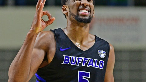 <p>               FILE - In this Tuesday, March 5, 2019, file photo, Buffalo guard CJ Massinburg reacts after making a 3-point shot during the second half of an NCAA college basketball game against Ohio in Athens, Ohio. On Friday, Massinburg will join four fellow seniors in playing their final home game, while appreciating how he played a significant role in spending the past four years placing Buffalo firmly on the map. (AP Photo/David Dermer, File)             </p>