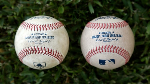 <p>               Major League Baseball's new prototype baseball, right, is shown next to a 2019 Spring Training game ball Wednesday, March 20, 2019, in Clearwater, Fla. (AP Photo/Chris O'Meara)             </p>