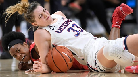 <p>               Connecticut's Katie Lou Samuelson, top and Houston's Julia Blackshell-Fair fall to the court chasing a loose ball during the first half of an NCAA college basketball game, Saturday, March 2, 2019, in Storrs, Conn. Samuelson left the game injured after the play. (AP Photo/Jessica Hill)             </p>