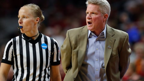 <p>               Iowa State head coach Bill Fennelly, right, disputes a call with an official during the first half of a first-round game against New Mexico State in the NCAA women's college basketball tournament, Saturday, March 23, 2019, in Ames, Iowa. (AP Photo/Matthew Putney)             </p>