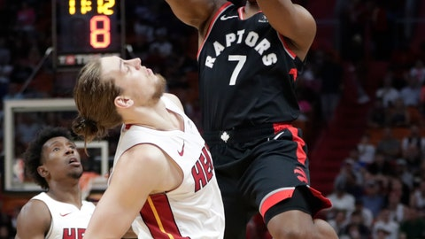 <p>               Toronto Raptors guard Kyle Lowry (7) shoots over Miami Heat forward Kelly Olynyk during the first half of an NBA basketball game, Sunday, March 10, 2019, in Miami. (AP Photo/Lynne Sladky)             </p>