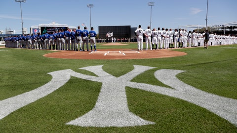 <p>               The Toronto Blue Jays and New York Yankees stand for their national anthems before a spring training baseball game, Monday, Feb. 25, 2019, in Tampa, Fla. (AP Photo/Lynne Sladky)             </p>