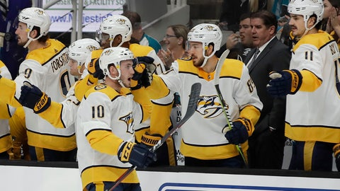 <p>               Nashville Predators' Colton Sissons (10) is congratulated after scoring a goal against the San Jose Sharks during the first period of an NHL hockey game Saturday, March 16, 2019, in San Jose, Calif. (AP Photo/Ben Margot)             </p>