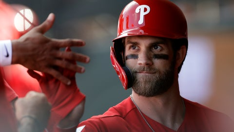 <p>               Philadelphia Phillies' Bryce Harper high-fives teammates after being taken out during the third inning of a spring training baseball game against the Toronto Blue Jays, Saturday, March 9, 2019, in Clearwater, Fla. (AP Photo/Chris O'Meara)             </p>