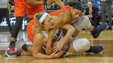 <p>               Belmont's Maddie Wright (55) fight to keep control of the floor ball as UT Martin's Brittni Moore (15) tries to get it away from her during the first half of an NCAA college basketball game in the championship of the Ohio Valley Conference basketball tournament, Saturday, March 9, 2019, in Evansville, Ind. (AP Photo/Daniel R. Patmore)             </p>