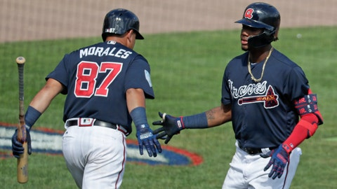 <p>               Atlanta Braves' Jonathan Morales, left, congratulates teammate Ronald Acuna Jr., right, on his sixth inning home run against the Houston Astros in a spring baseball exhibition game, Monday, March 4, 2019, in Kissimmee, Fla. (AP Photo/John Raoux)             </p>