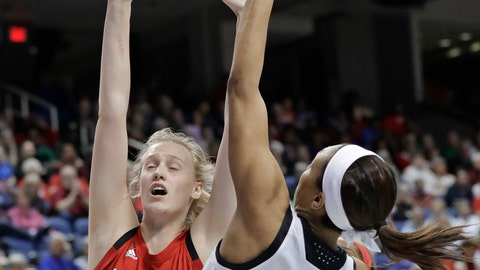 <p>               Louisville's Asia Durr (25) shoots against North Carolina State's Elissa Cunane (33) during the first half of an NCAA college basketball game in the Atlantic Coast Conference women's tournament in Greensboro, N.C., Saturday, March 9, 2019. (AP Photo/Chuck Burton)             </p>