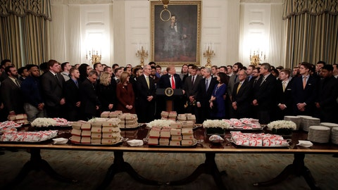 Trump serves fast food again at White House sports event