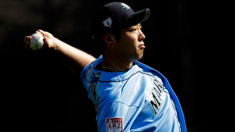 <p>               FILE - In this Feb. 16, 2019, file photo, Seattle Mariners pitcher Yusei Kikuchi, of Japan, throws during spring training baseball practice, in Peoria, Ariz. Whether he wants to be or not, Kikuchi's rookie season is a science experiment. An attempt to see whether pitchers brought from Asia to Major League Baseball should be handled differently in their first season. (AP Photo/Charlie Riedel, File)             </p>