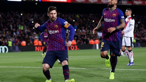 <p>               FC Barcelona's Lionel Messi celebrates after scoring his side's second goal from a penalty spot during the Spanish La Liga soccer match between FC Barcelona and Rayo Vallecano at the Camp Nou stadium in Barcelona, Spain, Saturday, March 9, 2019. (AP Photo/Manu Fernandez)             </p>