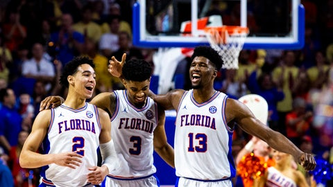 <p>               FILE - In this Saturday, Feb. 23, 2019, file photo, Florida's Andrew Nembhard (2), Jalen Hudson (3) and Kevarrius Hayes (13) celebrate during during an NCAA college basketball game against Missouri, in Gainesville, Fla. The Gators are trying to get back to the NCAA Tournament for the third consecutive year. (Lauren Bacho/The Gainesville Sun via AP, File)             </p>