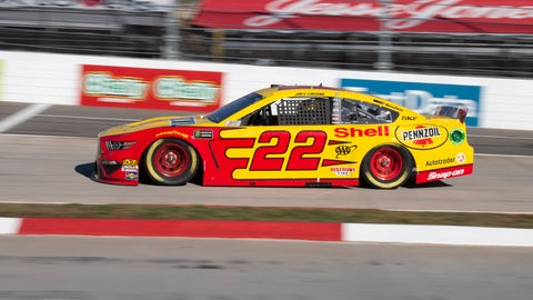 <p>               Joey Logano drives during qualifying for a NASCAR Cup Series auto race at Martinsville Speedway in Martinsville, Va., Saturday, March 23, 2019. (AP Photo/Matt Bell)             </p>