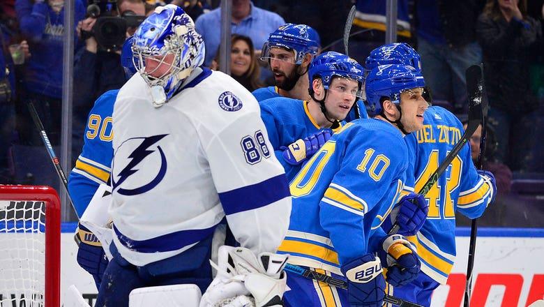 Lightning's 7-game win streak snapped by Blues in 4-3 loss