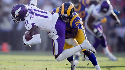 <p>               FILE - In this Sept. 27, 2018, file photo, Minnesota Vikings wide receiver Laquon Treadwell (11) is tackled by Los Angeles Rams defensive back Lamarcus Joyner during the first half in an NFL football game in Los Angeles.  The Oakland Raiders have agreed to a four-year contract with free agent safety Lamarcus Joyner. A person familiar with the deal said Tuesday, March 12, 2019, on condition of anonymity, that Joyner will sign the contract after the start of the new league year. The person spoke on condition of anonymity because the move can't be finalized until Wednesday. (AP Photo/Jae C. Hong, File)             </p>