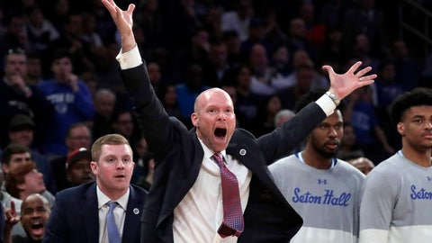 <p>               Seton Hall head coach Kevin Willard reacts during the second half of an NCAA college basketball game against Villanova in the championship of the Big East Conference tournament, Saturday, March 16, 2019, in New York. Villanova won 74-72. (AP Photo/Julio Cortez)             </p>