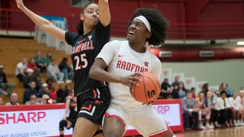 <p>               Redford guard Khan Johnson, right, looks to the basket as Campbell defender Luana Serranha (25) attempts to block her drive during the first half of the Big South conference NCAA women's basketball championship game in Radford, Va., Sunday, March 17, 2019. (AP Photo/Lee Luther Jr.)             </p>