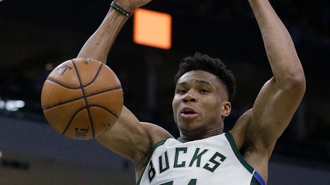 <p>               Milwaukee Bucks' Giannis Antetokounmpo dunks during the second half of the team's NBA basketball game against the Indiana Pacers on Thursday, March 7, 2019, in Milwaukee. (AP Photo/Aaron Gash)             </p>