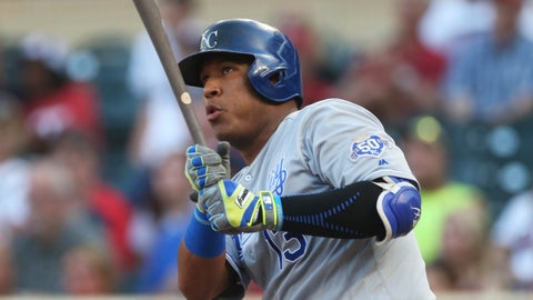 <p>               FILE - In this Tuesday, July 10, 2018 file photo, Kansas City Royals' Salvador Perez bats against the Minnesota Twins in the first inning of a baseball game in Minneapolis. Kansas City Royals All-Star catcher Salvador Perez damaged the ulnar collateral ligament in his right elbow, raising the possibility the 2015 World Series MVP may need Tommy John surgery and miss the season. Perez was hurt during a workout on Wednesday, Feb. 27, 2019. (AP Photo/Jim Mone, File)             </p>