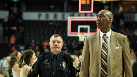 <p>               Wake Forest head coach Danny Manning walks off the court after their 79-54 loss to the Syracuse in an NCAA college basketball game, Saturday, March 2, 2019, at Joel Coliseum in Winston-Salem, N.C. (Allison Lee Isley/The Winston-Salem Journal via AP)             </p>