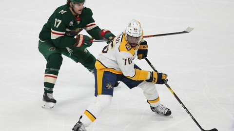 <p>               Nashville Predators' P.K. Subban controls the puck in front of Minnesota Wild's Marcus Foligno during the third period of an NHL hockey game Sunday, March 3, 2019, in St. Paul, Minn. The Predators won 3-2 in a shootout. (AP Photo/Stacy Bengs)             </p>