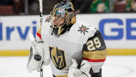 <p>               Vegas Golden Knights goaltender Marc-Andre Fleury makes a save during the second period of the team's NHL hockey game against the Anaheim Ducks on Friday, March 1, 2019, in Anaheim, Calif. (AP Photo/Jae C. Hong)             </p>