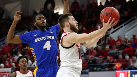 <p>               North Carolina State's Braxton Beverly (10) drives to the basket past Hofstra's Desure Buie (4) during the first half of an NCAA college basketball game in Raleigh, N.C., Tuesday, March 19, 2019. (Ethan Hyman/The News & Observer via AP)             </p>