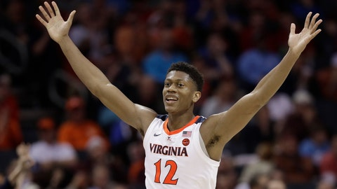 <p>               Virginia's De'Andre Hunter (12) reacts after making a basket against North Carolina State during the second half of an NCAA college basketball game in the Atlantic Coast Conference tournament in Charlotte, N.C., Thursday, March 14, 2019. (AP Photo/Chuck Burton)             </p>
