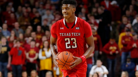<p>               Texas Tech guard Jarrett Culver smiles at the end of an NCAA college basketball game against Iowa State, Saturday, March 9, 2019, in Ames, Iowa. Texas Tech won 80-73. (AP Photo/Charlie Neibergall)             </p>