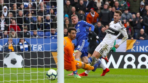 <p>               Leicester City's Jamie Vardy, center, celebrates scoring against Fulham during the English Premier League soccer match at the King Power Stadium, Leicester, England, Saturday March 9, 2019. (Chris Radburn/PA via AP)             </p>