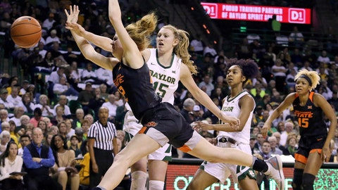 <p>               Oklahoma State forward Vivian Gray (12) is fouled as she attempts to shoot past Baylor forward Lauren Cox (15) in the first half of an NCAA college basketball game, Saturday, March 2, 2019, in Waco, Texas. (AP Photo/Jerry Larson)             </p>