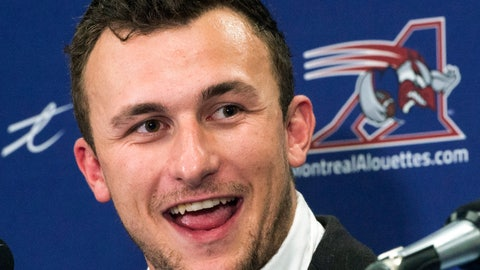 <p>               FILE - In this July 23, 2018, file photo, Montreal Alouettes quarterback Johnny Manziel speaks to the media after practice in Montreal. Manziel has been signed by the Alliance of American Football and will join the Memphis Express. The quarterback's rights belonged to San Antonio of the spring league, but that team declined to sign him and Manziel then was free to join any of the other seven clubs. (Ryan Remiorz/The Canadian Press via AP, File)             </p>