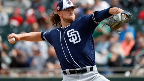 <p>               FILE - In this March 8, 2019, file photo, San Diego Padres pitcher Chris Paddack throws against the Oakland Athletics during the first inning of a spring training baseball game, in Mesa, Ariz. The 23-year-old Paddack, a promising right-hander, will be part of San Diego's rotation when the regular season begins. (AP Photo/Matt York, File)             </p>