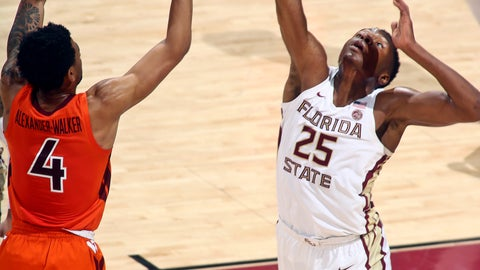 <p>               Virginia Tech guard Nickeil Alexander-Walker (4) shoots over Florida State forward Mfiondu Kabengele (25) in the first half of an NCAA college basketball game in Tallahassee, Fla., Tuesday, March 5, 2019. (AP Photo/Phil Sears)             </p>