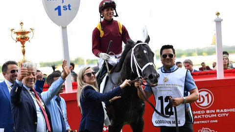 <p>               Jockey Jose Ortiz and connections react after winning with Coal Front the $1.5 million Group 2 Godolphin Mile over 1600m in Dubai, United Arab Emirates, Saturday, March 30, 2019. (AP/Martin Dokoupil)             </p>