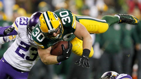 <p>               CORRECTS TO 12-YEAR CAREER, NOT 11 - FILE - In this Jan. 3, 2016, file photo, Green Bay Packers fullback John Kuhn is stopped on a run during the second half an NFL football game against the Minnesota Vikings in Green Bay, Wis. The Former Packers fullback announced his retirement Wednesday, March 6, 2019, after a 12-year career. (AP Photo/Matt Ludtke, File)             </p>