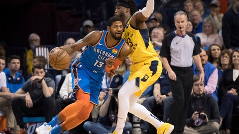 <p>               Oklahoma City Thunder forward Paul George (13) fights for position while defended by Indiana Pacers guard Wesley Matthews (23) during the first half of an NBA basketball game Wednesday, March 27, 2019, in Oklahoma City. (AP Photo/Rob Ferguson)             </p>