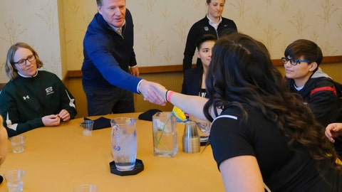 <p>               FILE - In this Feb. 26, 2019, file photo, NFL Commissioner Roger Goodell greets Dartmouth strength and conditioning intern Tessa Grossman and other participants, including Bear Lake High School offensive coordinator Sam Mullet, right wearing glasses, at the NFL Women's Forum held in Indianapolis. (AP Photo/AJ Mast, File)             </p>