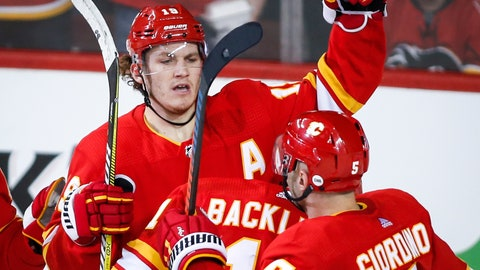 <p>               Calgary Flames' Matthew Tkachuk, left, celebrates his goal with teammates  during the second period of an NHL hockey game against the New York Rangers in Calgary, Alberta, Friday, March 15, 2019. (Jeff McIntosh/The Canadian Press via AP)             </p>