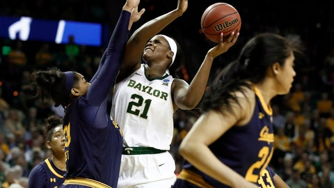<p>               California center CJ West (30) defends as Baylor center Kalani Brown (21) goes up to shoot in the second half of a second-round game in the NCAA women's college basketball tournament in Waco, Texas, Monday, March 25, 2019. (AP Photo/Tony Gutierrez)             </p>