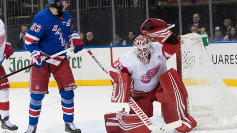 <p>               Detroit Red Wings goaltender Jimmy Howard (35) makes the save against New York Rangers center Mika Zibanejad (93) during the second period of an NHL hockey game, Tuesday, March 19, 2019, at Madison Square Garden in New York. (AP Photo/Mary Altaffer)             </p>