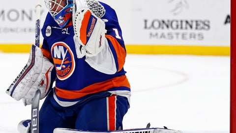 <p>               New York Islanders goaltender Thomas Greiss reacts as a shot by the Columbus Blue Jackets hits the goal post during the first period of an NHL hockey game Monday, March 11, 2019, in Uniondale, N.Y. (AP Photo/Adam Hunger)             </p>