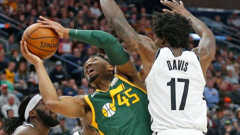 <p>               Utah Jazz guard Donovan Mitchell (45) goes to the basket as Brooklyn Nets forward Ed Davis (17) defends during the first half of an NBA basketball game Saturday, March 16, 2019, in Salt Lake City. (AP Photo/Rick Bowmer)             </p>