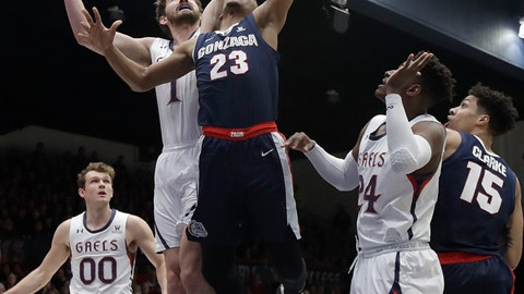 <p>               Gonzaga guard Zach Norvell Jr. (23) shoots in front of Saint Mary's center Jordan Hunter during the first half of an NCAA college basketball game in Moraga, Calif., Saturday, March 2, 2019. (AP Photo/Jeff Chiu)             </p>