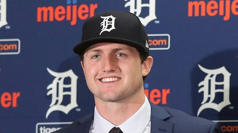 <p>               FILE - In this June 25, 2018, file photo, Detroit Tigers first overall pick Casey Mize is seen during a news conference where he was introduced to the media, in Detroit. The Detroit Tigers have assigned top draft pick Casey Mize to minor league camp. The No. 1 selection in last year's draft pitched two innings for the Tigers against St. Louis. Manager Ron Gardenhire says that as starters begin throwing more innings in spring training, it's harder to find room for other pitchers to get in the game. Mize will go to minor league camp so he can pitch more.(AP Photo/Carlos Osorio, FIle)             </p>