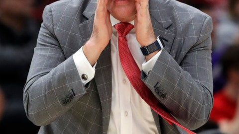 <p>               Rutgers head coach Steve Pikiell calls his team during the first half of an NCAA college basketball game in the first round of the Big Ten Conference tournament against Nebraska in Chicago, Wednesday, March 13, 2019. (AP Photo/Nam Y. Huh)             </p>